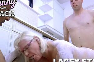 GRANNYLOVESBLACK - Youthful hardworking guys don't leave Lacey's building sans getting a taste of her.